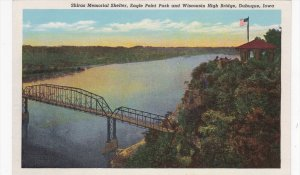DUBUQUE, Iowa, 1930-1940's; Shiras Memorial Shelter, Eagle Point Park And Wis...