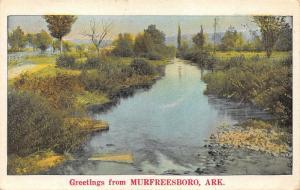 Murfreesboro Arkansas~Idyllic Scene Along Stream~1920s Postcard