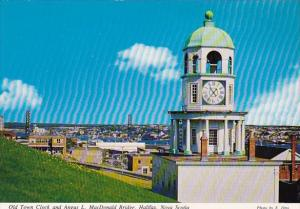 Canada Nova Scotia Old Town Clock And Angus L Macdonald Bridge Halifax