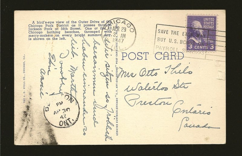 USA Postmark 1947 Chicago Ill Aerial View South Shore Drive Linen Postcard