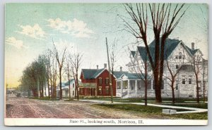 Morrison Illinois~Base Street South~Residential Area~Bare Trees~c1910 Postcard