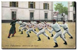 Old Postcard Infantry Boxing Exercise