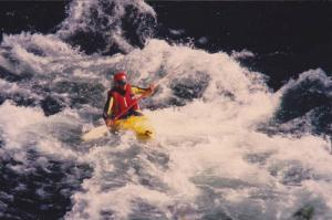 Kayaker in white water , Jackson Hole , Wyoming , 1980-90s