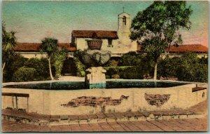 MISSION SAN JUAN CAPISTRANO Calif. Postcard Inner Patio Hand-Colored Albertype