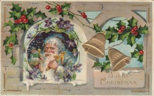 CHRISTMAS, 1909 ; Santa Claus carrying Toys & Ginger Bread Man