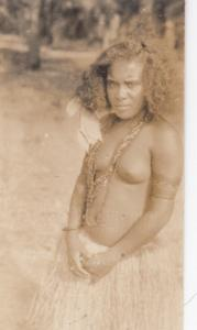 RP; Polynesian girl in grass skirt, 1900-1910s