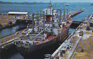 Panama Canal Cargo Ship In Gatun Locks