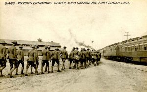CO - Fort Logan. Recruits Entraining, Denver & Rio Grande RR