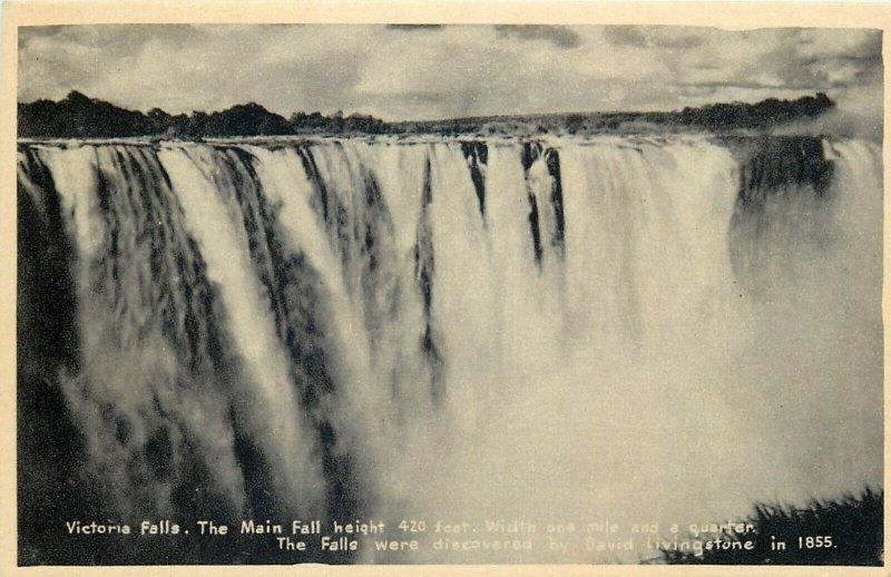 Victoria Falls Main Fall Zambia early postcard