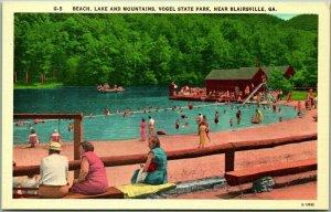 Blairsville, Georgia Postcard VOGEL STATE PARK Beach, Lake & Mountains Linen