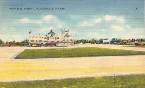 Indianapolis Indiana~Municipal Airport~Control Tower~Propeller Planes~1940 Linen