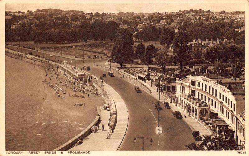 Vintage 1942 Postcard TORQUAY Abbey Sands & Promenade DEVON by Photochrom Ltd