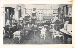 Southern Pines North Carolina Corner Antique Shop Interior View Postcard J66544