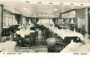 Steamship, S.S. Argentina, Dining Saloon, RPPC