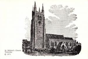 Postcard 1971 Art Sketch Drawing TENTERDEN St. Mildreds Church KENT