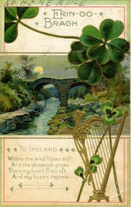 Greeting - St Patrick's Day        (embossed, gold, worn)