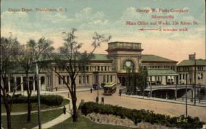 Providence RI Union Depot GEORGE W PARKS SILVERSMITH ADV Postcard