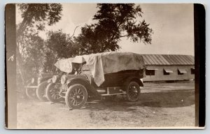 Vintage Cars~Tarp Covers~Open Air Automobile~Suitcase Running Board~c1910 RPPC