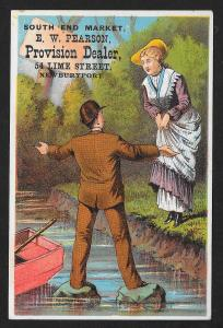 VICTORIAN TRADE CARD Pearson Provision Man on Stones in Stream Lady at Edge