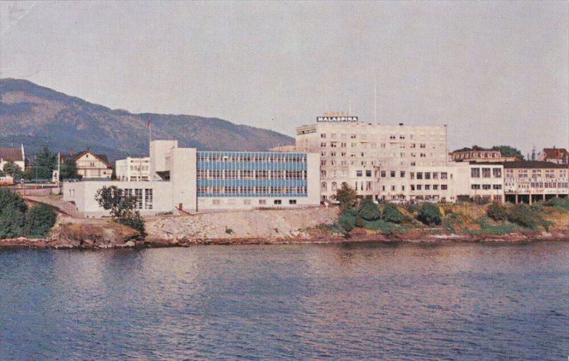 NANAIMO, British Columbia, Canada; Federal Building & Malaspina Hotel from Ha...
