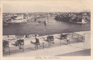 MALTA, 1900-1910´s; View Of Grand Harbour, Ship, Cannon
