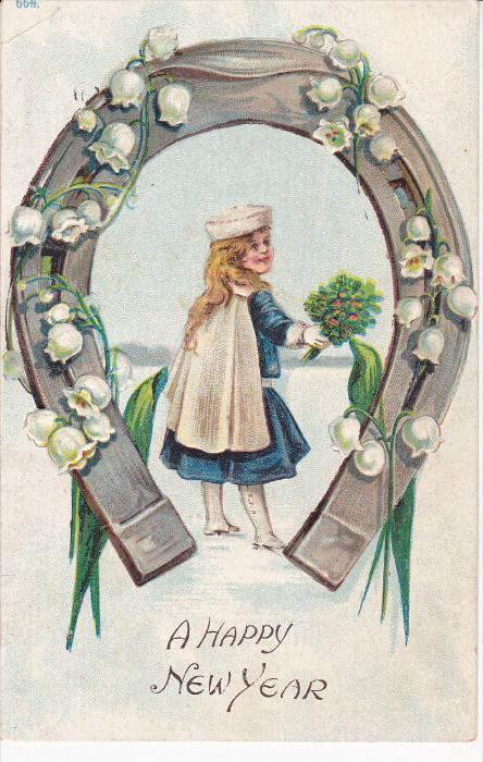 A Happy NEW YEAR; Girl holding bouquet of flowers, Horse shoe covered by lill...