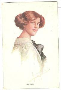 My Mate, Portrait of woman looking over shoulder, PU-1914