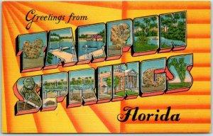 TARPON SPRINGS Florida Large Letter Postcard Hartman Card Co. Linen #49700 1951