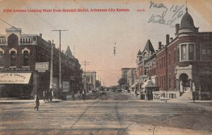 LPS80 Arkansas City Kansas Fifth Avenue looking West from Summit Street Postcard