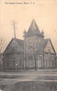 Ripley New York~First Baptist Church Corner~Dirt Roads~1907 B&W Rotograph PC