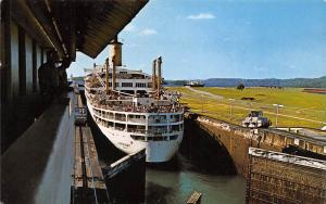 Panama Canal, Gatun Locks, control tower, vessel, Ship