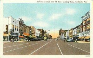 Autos Bus Garrison 9th Street Fort Smith Arkansas 1940s Postcard Teich 10153