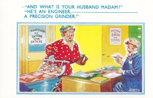 Engineer Grinder Husband Factory Humour Comic Postcard