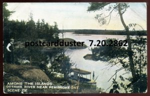 2862 - PEMBROKE Ontario Postcard 1907 Ottawa River Islands by Warwick/ Mitchell