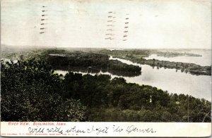 Old Postcard, BURLINGTON, IOWA, RIVER VIEW - VINTAGE - PC