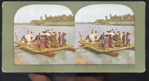 ISLAND OF JAVA DUTCH EAST INDIA SOLO RIVER WHERRY BOAT STEREOVIEW CARD