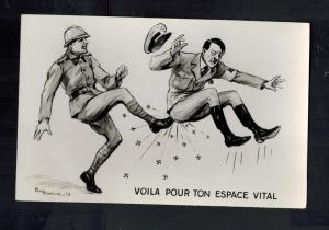 Mint WW2 France  Postcard Hitler Being Kicked French Soldier