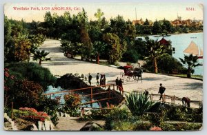 Los Angeles California~Westlake Park~Red hansom Pulled by Black Horse~1907 PC