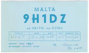 QSL, 9H1DZ, Malta, 1977