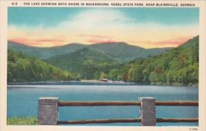 Georgia Blairsville Lake Showing Bath House In Background Vogel State Park