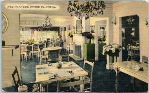 Hollywood, CA Postcard IVAR HOUSE Restaurant Interior 1737 Ivar Blvd. Linen