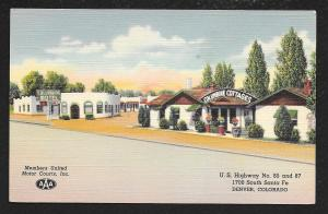Columbine Cottages Motor Court Denver Colorado Unused c1939