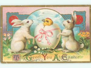 Pre-Linen easter WHITE BUNNY RABBITS WATCH CHICK INSIDE EGG W6842