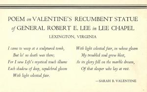 VA - Lexington. Inside Lee Chapel, Poem on Valentine's Recumbent Statue of Ge...