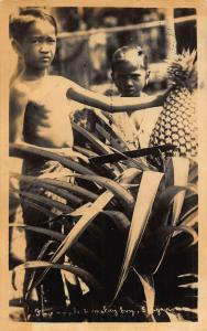 Singapore Children Cutting Pineapples Market Postcard