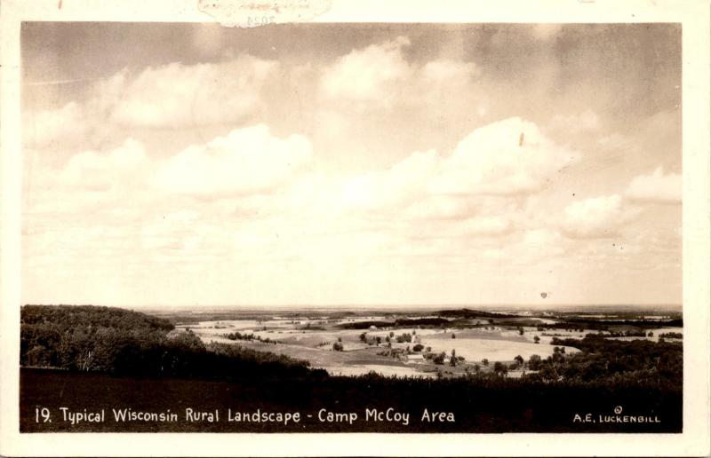 RPPC Camp McCoy Area, Typical Wisconsin Rural Landscape Vintage Postcard F12