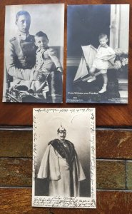 Germany 3 Vintage postcards Kaiser Wilhelm II and other Royalty members