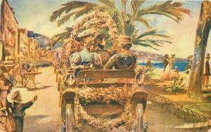 Artist impression Auto Art Nice France 1909 Postcard 2385 Flower Festival