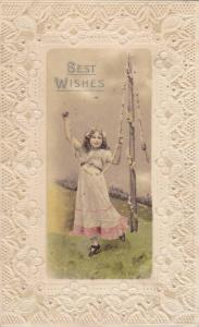 Best Wishes, Girl playing with a rope of flowers hanging from pole, PU-1913