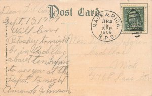 S. S. Illinois of Northern Michigan Line, Postcard, Used in 1909, R.P.O. Cancel